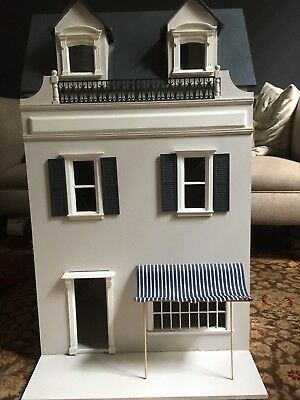 Elegant, stylish French Style Dolls House in beautiful deep blue and white.
