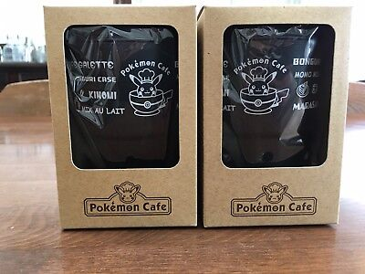 Pokemon Center Tokyo DX Cafe Limited Pikachu Logo Wall Mug Black 2 pieces 1 set