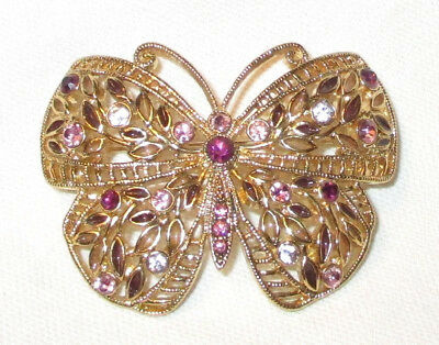 2c82edf486a43 VINTAGE FILIGREE GOLD Tone Pink Purple Rhinestone Tiered Butterfly ...