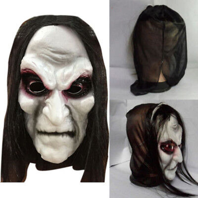 Mens Women Long Black Hair Latex Mask Zombie Scary Halloween Fancy Dress Costume