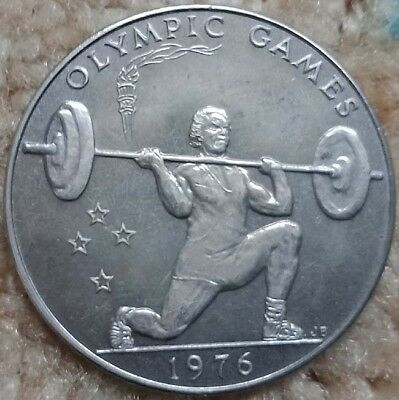 West Samoa Olympic Games 1976 Weight Lifting Uncirculated $1 Large Coin
