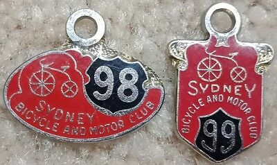 Sydney Bicycle and Motor Club Members Badges x 2