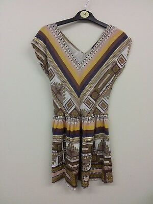 Ladies Dress Size 8 Top Shop Brown Yellow White Print