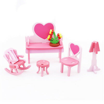 Wooden Doll House Furniture Chair Bed Table Dresser Desk Assembly Puzzle Toy Z