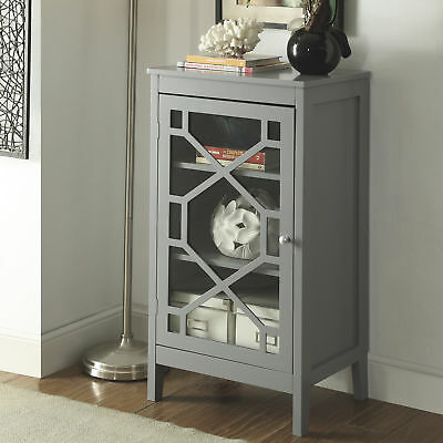 Linon Fetti Small Wood Home Storage Cabinet Glass Front Display- 20in.W- Gray