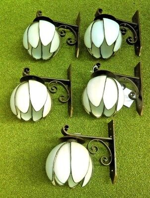 5 x Glass Flower Style Vintage  Wall Lights circa 1960/70 Exceptional Quality