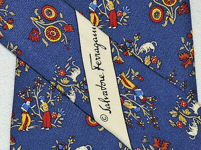 "Salvatore Ferragamo Men's Tie Blue, Red, Yellow/floral  3.75"" 58"" Italy"