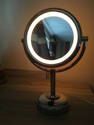 No 7 ILLUMINATED DOUBLE SIDED MAKE UP MAGNIFYING MIRROR VGC GIRLS BEDROOM
