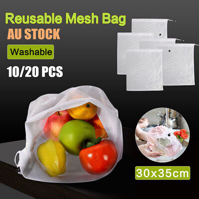 10/20X Reusable Produce Bags Rope Mesh Vegetable Fruit Toys Storage Pouch Fresh