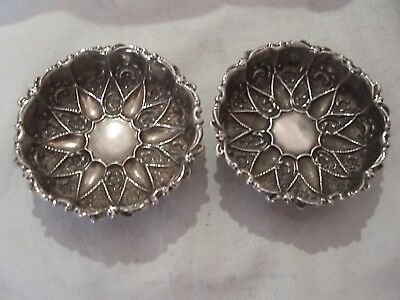 Pr Embossed Dishes Victorian Sterling Silver Chester 1897
