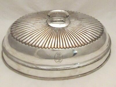 Good Old Sheffield Plate Meat Dome / Dish Cover - Small Size -  Crowned Crest