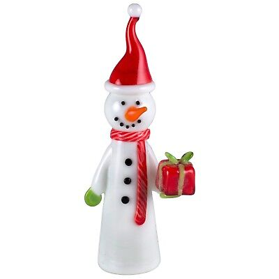Hand Blown Glass Snowman With Santa Hat and Christmas Present 3.5 Inch High New!