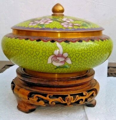 Antique Japanese Meiji Cloisonné 19thC covered jar 6 inch on stand