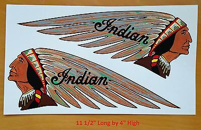 1939 Indian Motorcycle Pair Tank Decals Motocycle