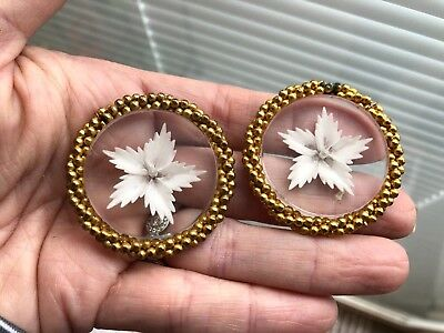 """Vintage (2) Glass w/ Flower Brass Large 1 1/2"""" Coat Buttons Rare Beautiful"""