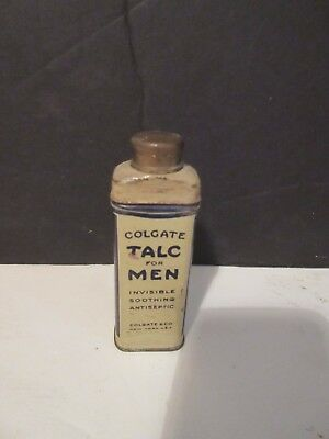 Vintage Colgate Talc For Men Small Powder Tin Palmolive