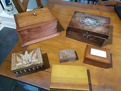 6 x Antique Vintage Wooden Boxes-Trinket Boxs for refurb up cycle