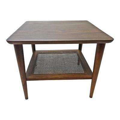 Danish Modern LANE ACCENT TABLE mid century cane shelf vintage end side cocktail