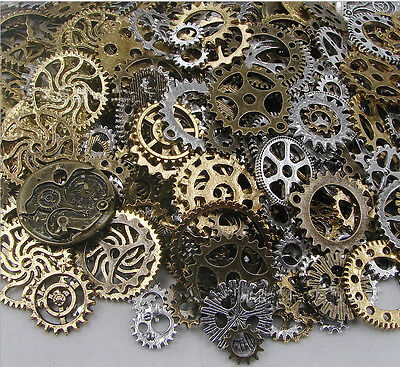 Mix Bronze Silver Gold Steampunk Cogs Gears Charm Watch Parts Altered Craft 100g