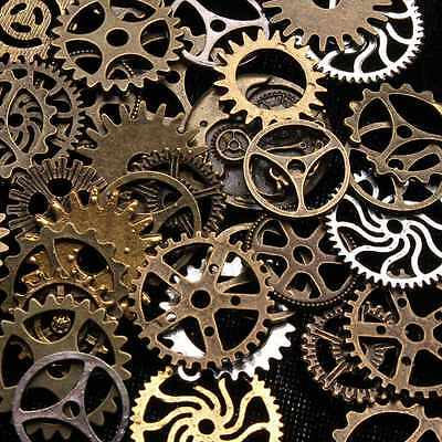 50g Mix Bronze Silver Gold Steampunk Cogs Gears Charm Watch Parts Altered Craft