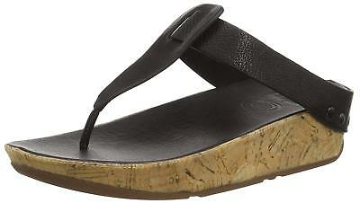 e46be8ba9 WOMENS SIZE 6 FitFlop Ibiza 401-001 Black Leather Flip Flops Sandals ...
