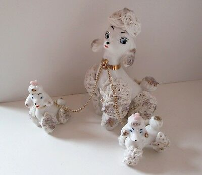 Vintage White Porcelain Spaghetti Poodle Dog Trio Mother & Pups Chain Figure Set