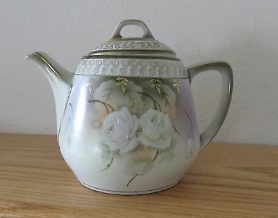 Antique German Porcelain Teapot with White Roses Holds 3 Cups