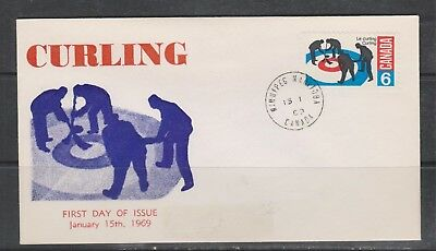 Can 490 - 1969 6c Curling - FDC
