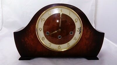 Antique /vintage Fhs Westminster/whittington Chimes Mantle Clock.with Key.