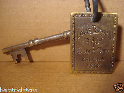 LONG BRANCH SOLID BRASS BROTHEL ROOM KEY WITH TAG Whiskey Girls Western