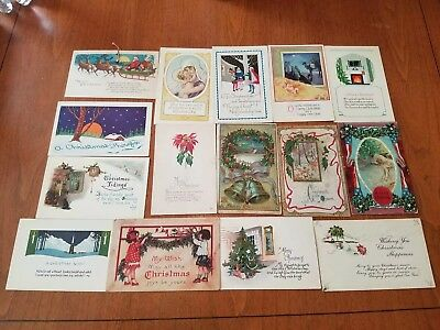Lot of 45 Antique Vintage Christmas Postcards Santa Religious Embossed Mixed