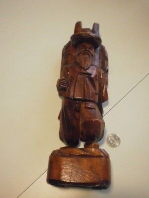 Hand Carved Wood Asian Oriental Man Figurine Sculpture~Folk Art~Hiker~Backpack