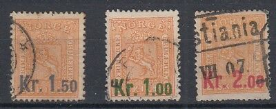 Norway 1905 Surcharge on 2sk Buff Set fine used, SG122-124