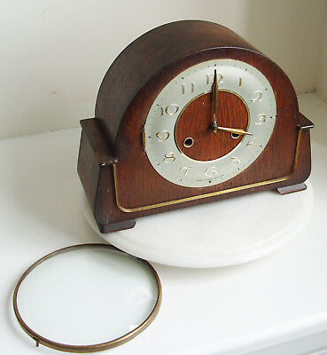 1930s MANTEL CLOCK by SMITHS with CHIMES  in OAK CASE