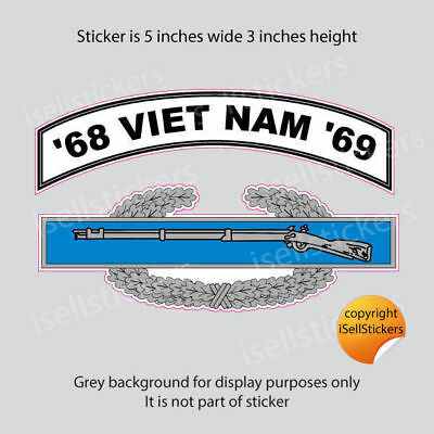 AR-2246 Army Viet Nam 68 - 69 Combat Infantry Badge Bumper Sticker Window Decal
