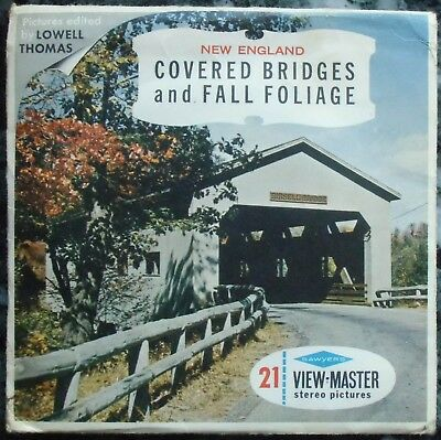 3 View-Master 3D Bildscheiben - New England | Covered Bridges And Fall Foliage