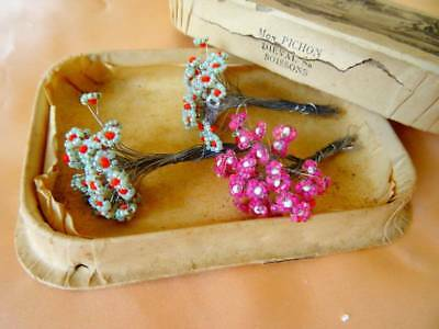 3 Bunches Antique Glass Beaded Flowers ~ Wired Stems In Beautiful Box