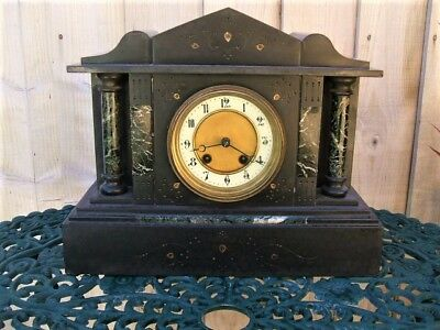 """ANTIQUE FRENCH BLACK SLATE AND MARBLE ARCHITECTURAL MANTEL CLOCK 1800's """"RS"""""""
