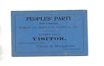 1896 Peoples'  Party Minnesota State Convention Admission Card
