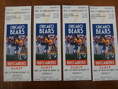 Tickets: Set of 4 Chicago Bears vs Tampa Bay Buccaneers Used - December 23, 1990