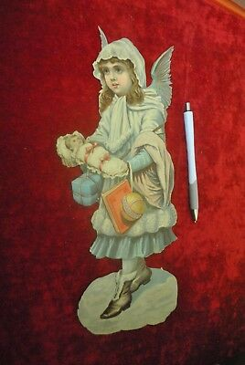 """Sweet Victorian Christmas Angel With Gifts & Holding A Baby, Large Over 12"""" High"""