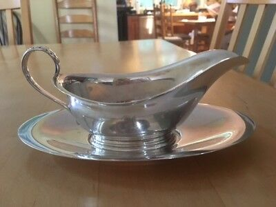 "Gorham Sterling Silver gravy boat and separate underplate ""Old French"""