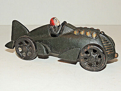 Vintage HUBLEY Cast Iron Toy Race Car with Driver