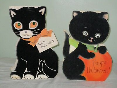 "2 Vtg Stand-up Flocked Halloween Cards Cats 13"" Tall Norcross Inky & Hallmark"