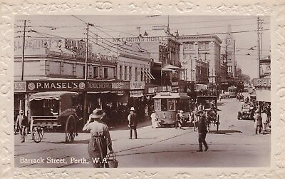 Australia: Western - Perth, Barrack St With Tram & Carts - Lovely Real Photo