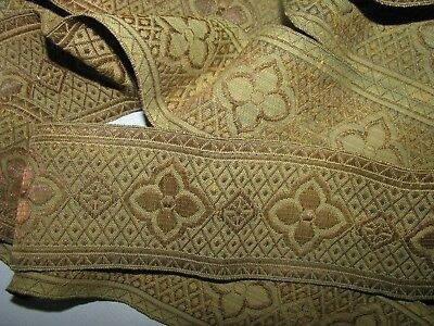 """Antique Gold Metallic Woven Trim With Olive Silk Background Earthy 2 1/4"""" W"""