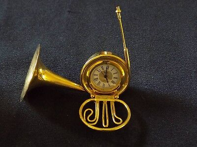 Gold plated French Horn miniature clock by Bulova