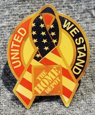 LMH PINBACK Pin UNITED WE STAND Ribbon HOME DEPOT Employee Apron Campaign 1""