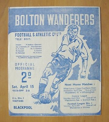 BOLTON WANDERERS v BLACKPOOL 1949/1950 *Excellent Condition Football Programme*