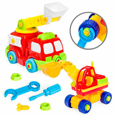 BCP 36-Piece Set of 2 Take-Apart Trucks w/ Tools - Multicolor